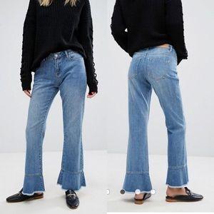Vero Moda Cropped Ruffle Flare Blue Jeans
